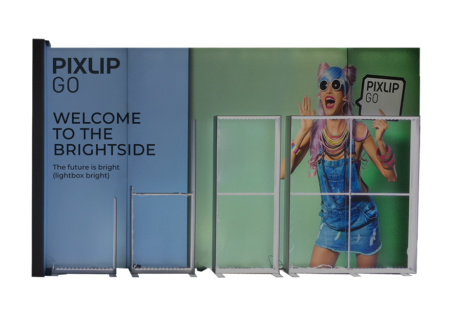 The PIXLIP GO modular light box exhibition stand